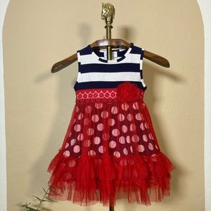 Emily Rose B&W Stripe Dot Red Tulle Party Dress